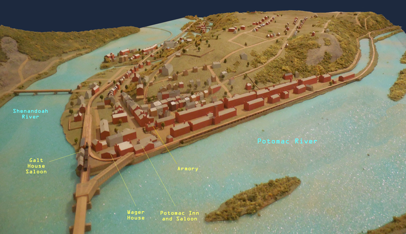 A model of Harper's Ferry as it appeared at the time.  I am slowly filling the details in as I figure them out.